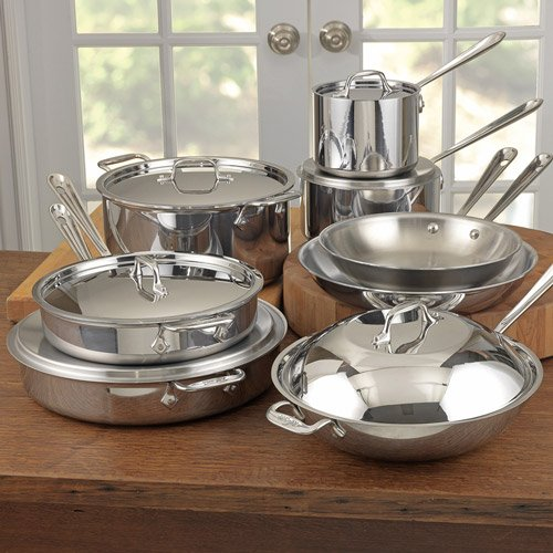 All-Clad Tri-Ply Stainless-Steel Cookware Set, 14 piece