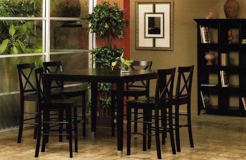 Buy Low Price Alpine Furniture 7pcs Counter Height Pub Dining Table and Chairs Set in Espresso Finish (VF_Dinset-AP-173-01-02)