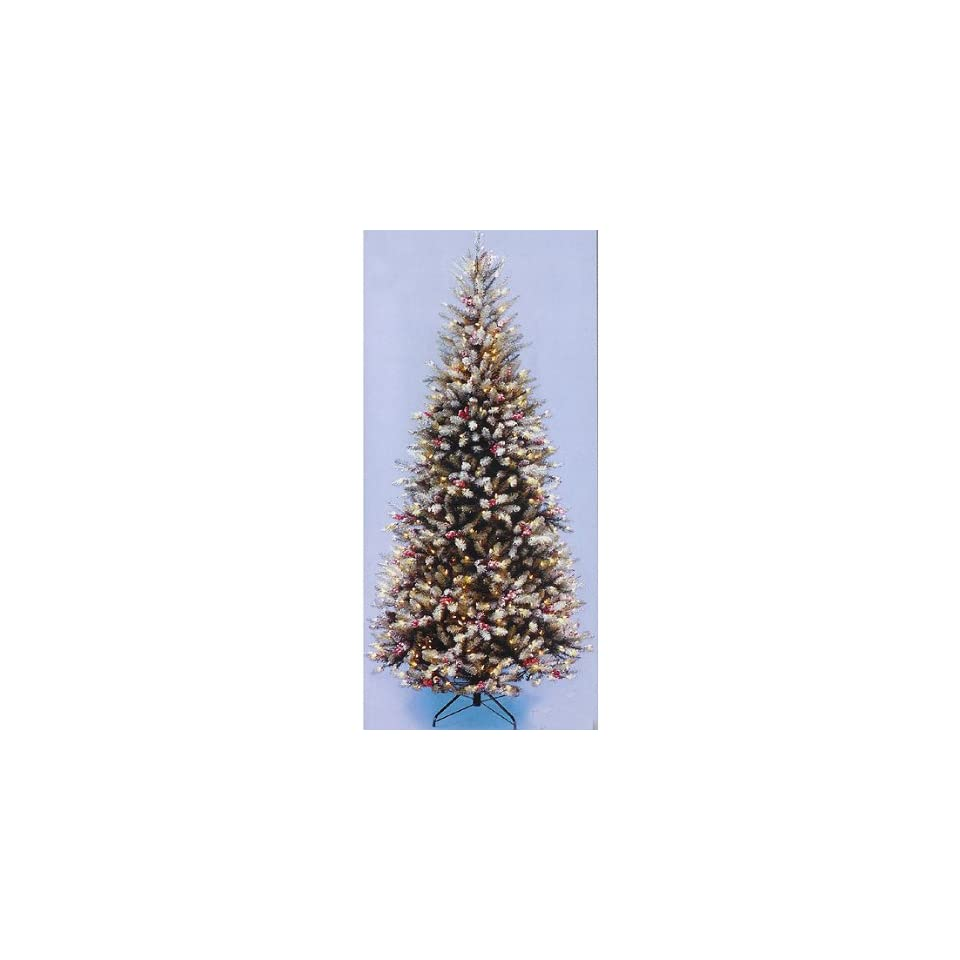 6.5 Flocked Slim Dunhill Fir Pre Lit Christmas Tree Clear Light Berries & Cones