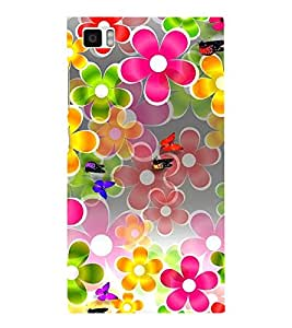 ANIMATED FLOWERS AND BUTTERFLIES DEPICTING THE BEAUTY OF NATURE 3D Hard Polycarbonate Designer Back Case Cover for Xiaomi Redmi Mi3 :: Xiaomi Mi 3