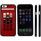 Rikki KnightTM British Phone Booth Design iPhone 6 Case Cover (Black Rubber with front bumper protection) for Apple iPhone 6