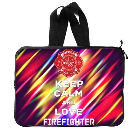 Keep Calm And Love Firefihter 14 Inch Laptop Sleeve Bag With Hidden Handle For Laptop / Notebook / Ultrabook / Macbook front-24223