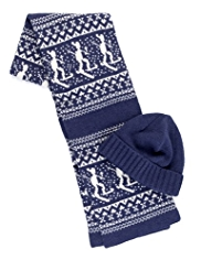 Blue Harbour Ski & Fair Isle Knitted Scarf & Hat Set with Wool