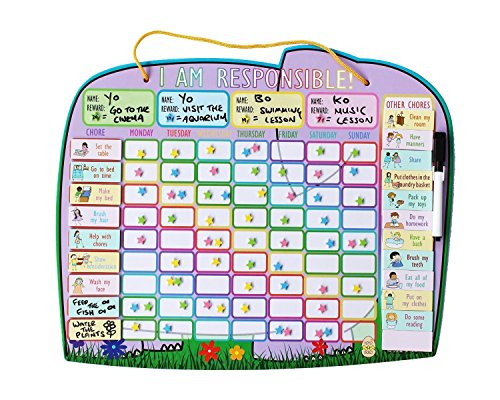 Premium Children Magnetic Chore Chart for Up to 4 Children - NEW Yoyoboko Ele-fun Star Chart (Chore Chart Multiple Kids compare prices)