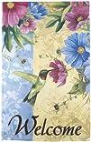 Hummingbird & Flowers Lawn Flag – Lar…