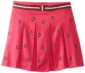 Hartstrings Big Girls' Knit Ponte Pleated Embroidered Skort, Pink Embroidery, 7