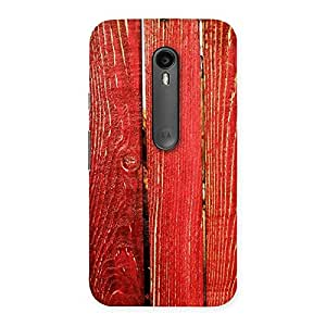 Red Texture Wood Back Case Cover for Moto G Turbo