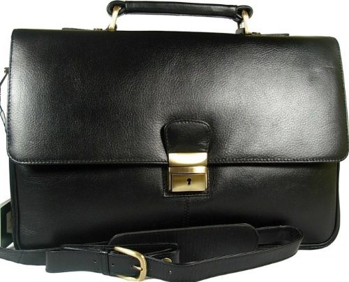 New Mens Visconti medium size Tuscan black leather business briefcase organiser bag Style 18074
