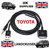 TOYOTA LANDCRUISER Compatible iPhone / iPad / iTouch 3.5mm Audio and USB Dock Cable / AUX Cable -- Apple Dock Connector to 3.5mm Audio AUX and USB Charge/ Compatible with all models of iPod, iPhone and iPad.