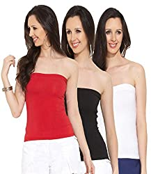 Espresso Women's Strapless Bandeau Tube Tops - A Pack of 3 - Red/Black/White