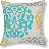 Euphoria Cushion Covers Pillows Shell Cotton Linen Blend Three-tone Floral Geometric 18 X 18 Inches