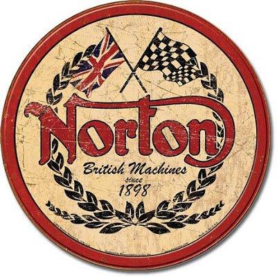 Norton Motorcycles Round Tin Metal Sign , 16x13