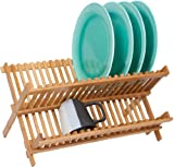 Dish Rack - Folding - Made From Natural Bamboo by Trademark Innovations (1, 18