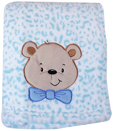 My Baby Bear Design on Leopard Print Plush Blanket, Blue