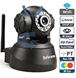 Sricam SP Series Wireless HD IP Wifi CCTV [Watch LIVE DEMO right now] indoor Security Camera (support upto 128 GB SD card) (Black Color)+ 4 in 1 Stylus Pen (Stylus+Pen+Laser+torch) image