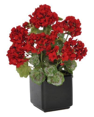 Artificial Red Geranium in Black Cube Ceramic Vase