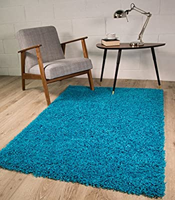 Dense Pile Soft Teal Blue Shaggy Shag Area Rugs - Available in 11 Sizes
