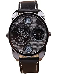 ISweven 2016 New Personality Large Dial Double Movement Mens Sports Watch Analogue Black Unisex Wrist Watch W1061a