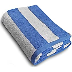 """Large Beach-Towel Pool-Towel in Cabana Stripe- Blue, 100% Cotton, Easy Care, Maximum Softness and Absorbency (35"""" x 70"""") by Utopia Towel"""