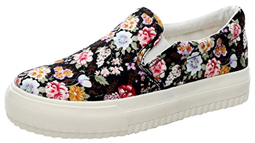 YJ Womens Casual Slip-on Floral Flats Loafers Canvas Sneakers(7 B(M) US, BlackFlower)