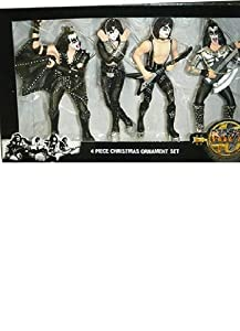 4 pc Kiss Rock Band Christmas Tree Ornaments 40yr Anniversary Logo Collectables Kurt Adler