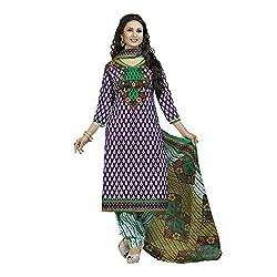 Stylish Girls Green Cotton Dress Materials