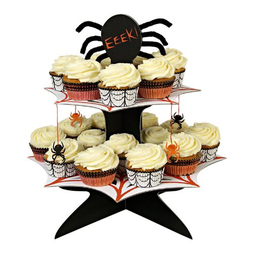 halloween boo spiderweb cupcake stand halloween cupcake stand features two tiers plus spider detail sold flat packed wipe clean 34 x 34 x 38 cm - Halloween Cupcake Holder