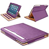 MOFRED® Purple & Tan Apple iPad Air 2 (Launched Oct. 2014) Leather Case-MOFRED®- Executive Multi Function Leather Standby Case for Apple New iPad Air 2 with Built-in magnet for Sleep & Awake Feature