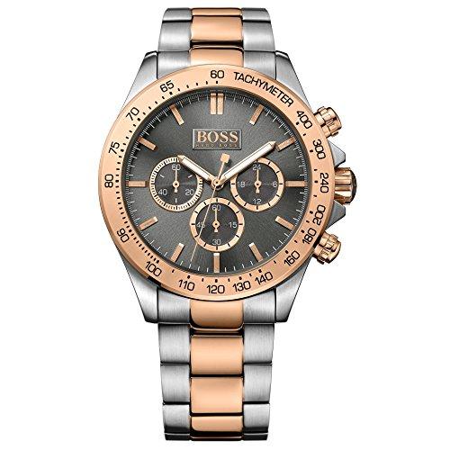 Hugo Boss 1513339Ikon Cronógrafo Reloj Reloj de hombre acero inoxidable 100m Analog Chrono Gris Rosé