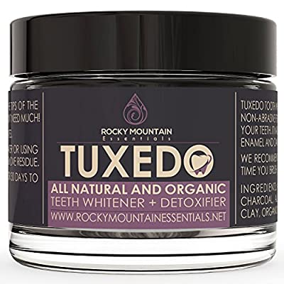 All Natural Charcoal Teeth Whitening, 'Tuxedo' Tooth and Gum Powder By Rocky Mountain Essentials. Coconut Activated Charcoal and Bentonite Clay Formula. Use for 30 Days.
