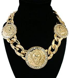 "GALHAM - Rihanna 16"" Celebrity Hip Hop Bling Crystal 3 Lion Head Pendant Chain Necklace"