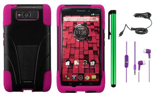 MOTOROLA DROID MAXX XT1080M / Droid Ultra XT-1080 (Verizon) Premium T-Stand Protector Hard Cover Case + Car Charger + 3.5MM Stereo Earphones + 1 of New Metal Stylus Touch Screen Pen (Pink / Black)