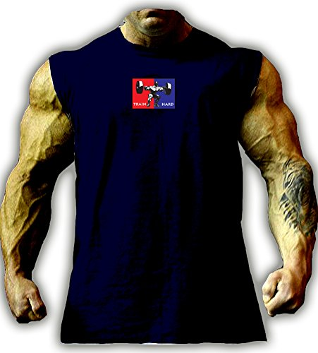 Bodybuilding TRAIN HARD Sleeveless T Shirt (Squat) (XL)