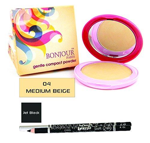 BONJOUR PARIS Bonjour Paris Gentle Compact powder Medium Beige + Bonjour Paris Kajal Pencil