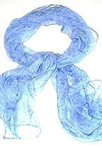 Silk Salon Oblong 100% Silk Scarf Belt Hand Rolled Edges Roses Blue