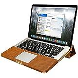 "Jisoncase ELEGANT Apple Macbook Pro Retina 13,3"" Hülle Ständer-Design Ultrabook Laptop Leder Tasche Wärmeableitung-Funktion Case in braun JS-PRO-05R20"