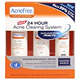 AcneFree Clear Skin System, 3-Step Kit (Purifying Cleanser, Renewing Toner, Repair Lotion) ~ AcneFree