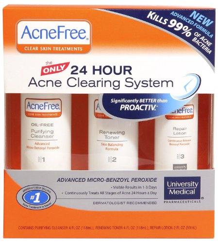 AcneFree AcneFree Clear Skin System, 3-Step Kit (Purifying Cleanser, Renewing Toner, Repair Lotion)