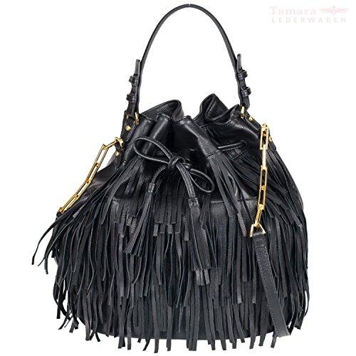 Donna Abro Bucket Bag con frange Nero, nero (Nero) - 26186-39-10