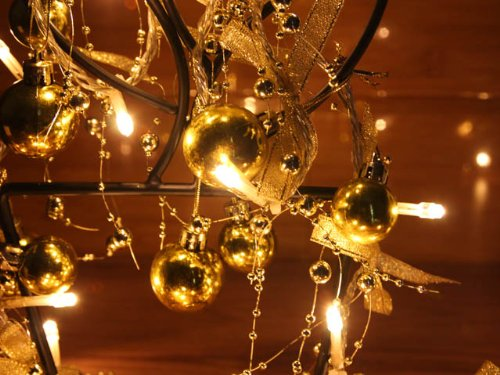 Battery Operated Warm White Led String Lights With Gold Christmas Ball, Christmas Lights, Party Lights (Free Shipping)