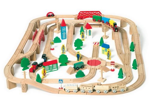 Wooden Train Set  &  Railway Freight Depot
