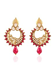 I Jewels Traditional Gold Plated Kundan & Stone Earrings For Women E2261Q (Rani/Pink)