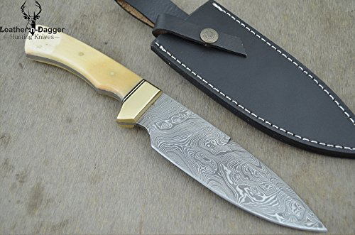 """Christmas Gift By Leather-N-Dagger   Professional High Quality Custom Handmade Damascus Steel Model-Year 2015 Bowie 11"""" Hunting Knife (100% Satisfaction Guaranteed) Great Gift Ld195"""