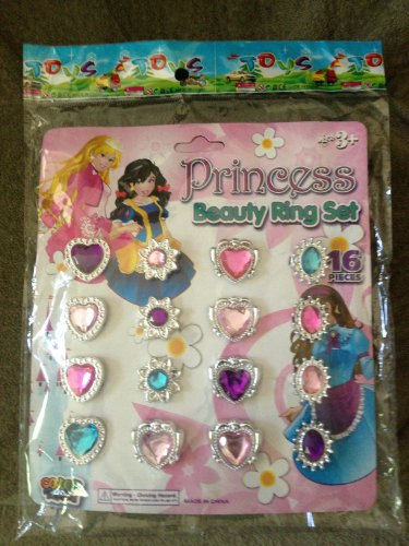 Princess Beauty Ring 16 pc Set (Gift Bags, Birthday Parties, etc.)