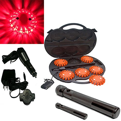 6 Pack Red Rechargable Waterproof Led Magnet Safety Flare With 9 Operating Modes + Free Chargers And Travel Case And Led Flashlight Set!