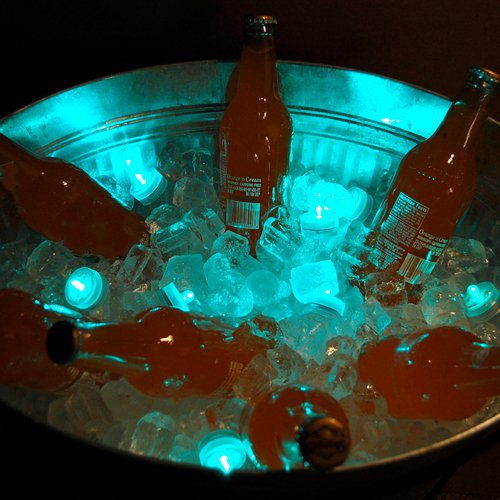 Club Pack Of 12 Battery Operated Led Teal Waterproof Tea Lights