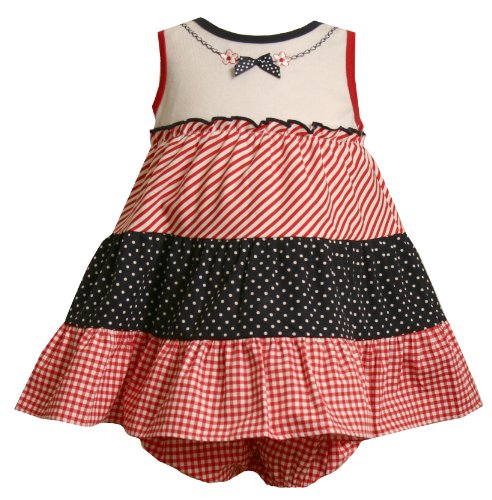 Size-3/6M,BNJ-7230M 2-Piece RED WHITE BLUE TIERED DOT STRIPE CHECK PRINT Spring Summer Americana Patriotic Party Dress,M07230 Bonnie Jean Baby/NEWBORN