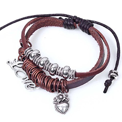 Real Spark Stacking Style 2-Row Leather Metal Heart Shape Pendant Flower Adjustable Length Wrap Bracelet
