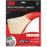 3M Permanent Adhesive File Folder Labels, 0.6 x 3.4 Inches, White, Laser/Inkjet, 750 labels per pack (3300-H)