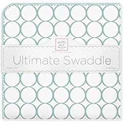 SwaddleDesigns Ultimate Receiving Blanket, Mod Circles, SeaCrystal